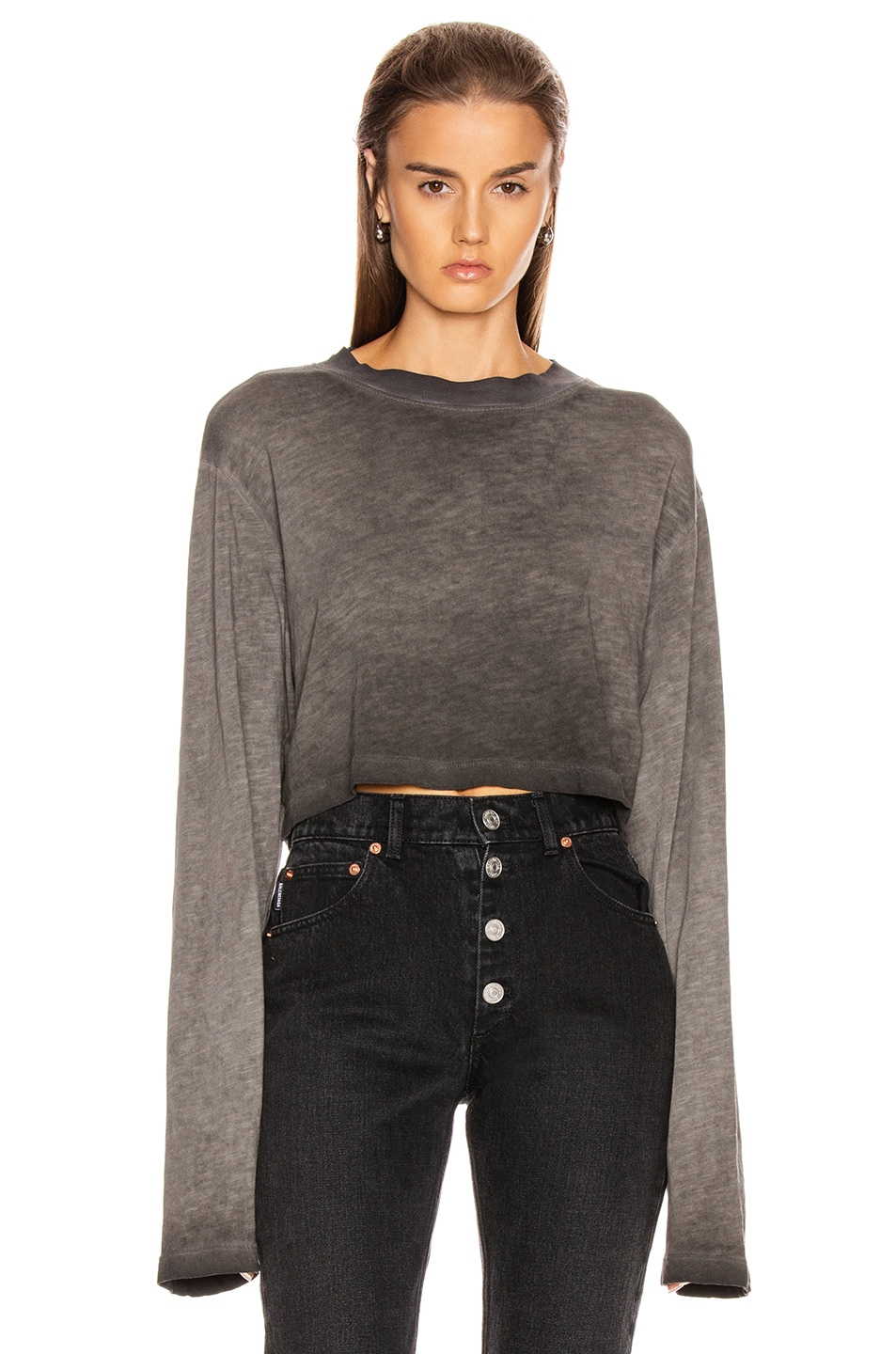 Image 1 of COTTON CITIZEN Tokyo Crop Long Sleeve Tee in Grey Lead