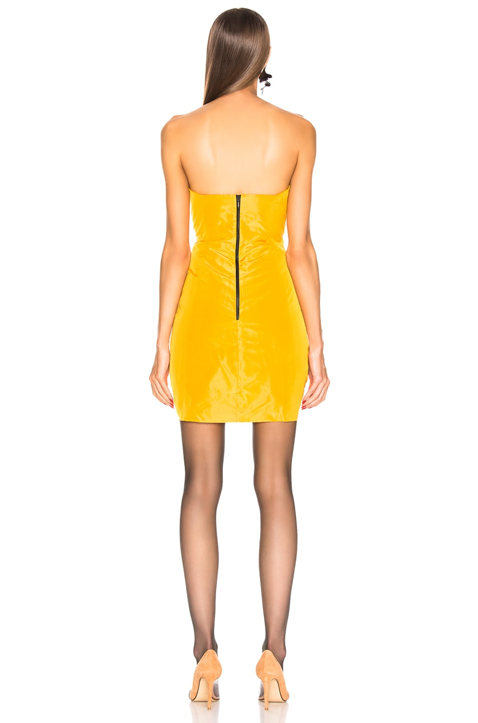 Image 3 of CARMEN MARCH Strapless Ribbon Dress in Yellow & Black