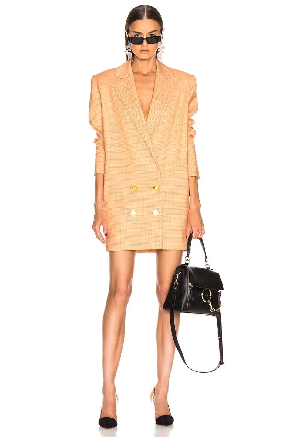 Image 1 of CARMEN MARCH Blazer Dress in White & Yellow
