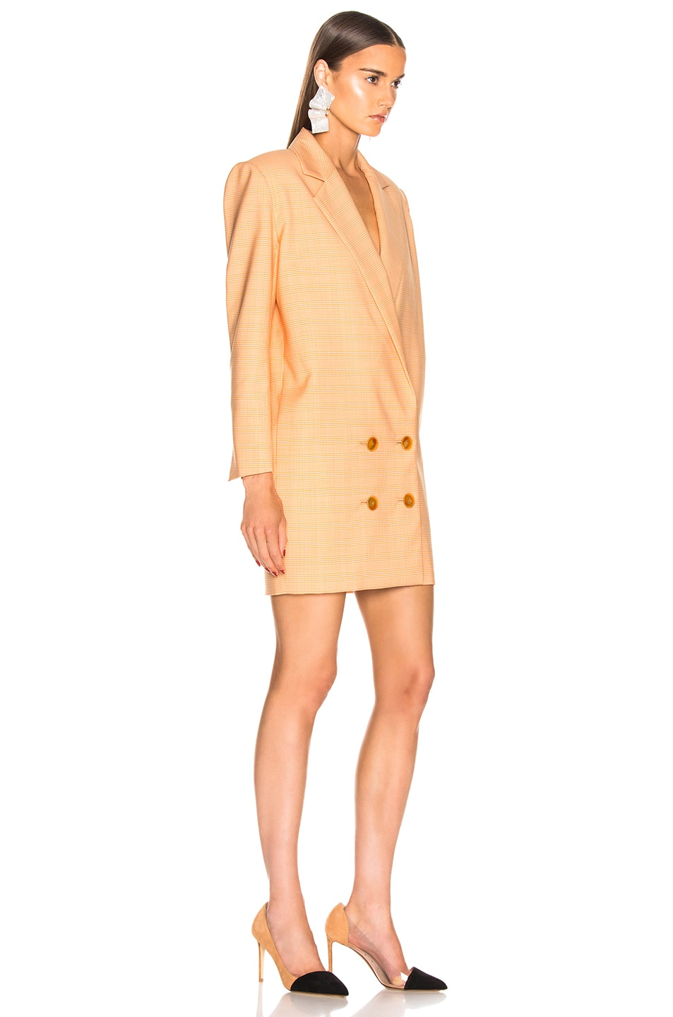 Image 2 of CARMEN MARCH Blazer Dress in White & Yellow