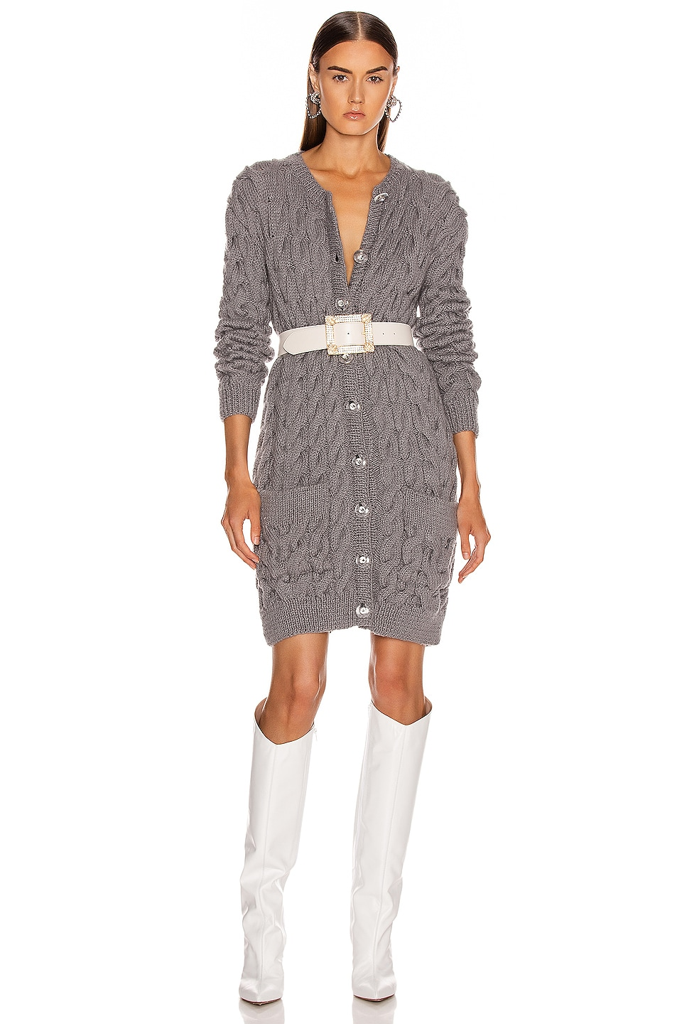 Image 1 of CARMEN MARCH Knit Cardigan Dress in Grey