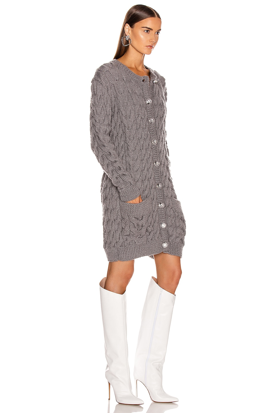 Image 2 of CARMEN MARCH Knit Cardigan Dress in Grey