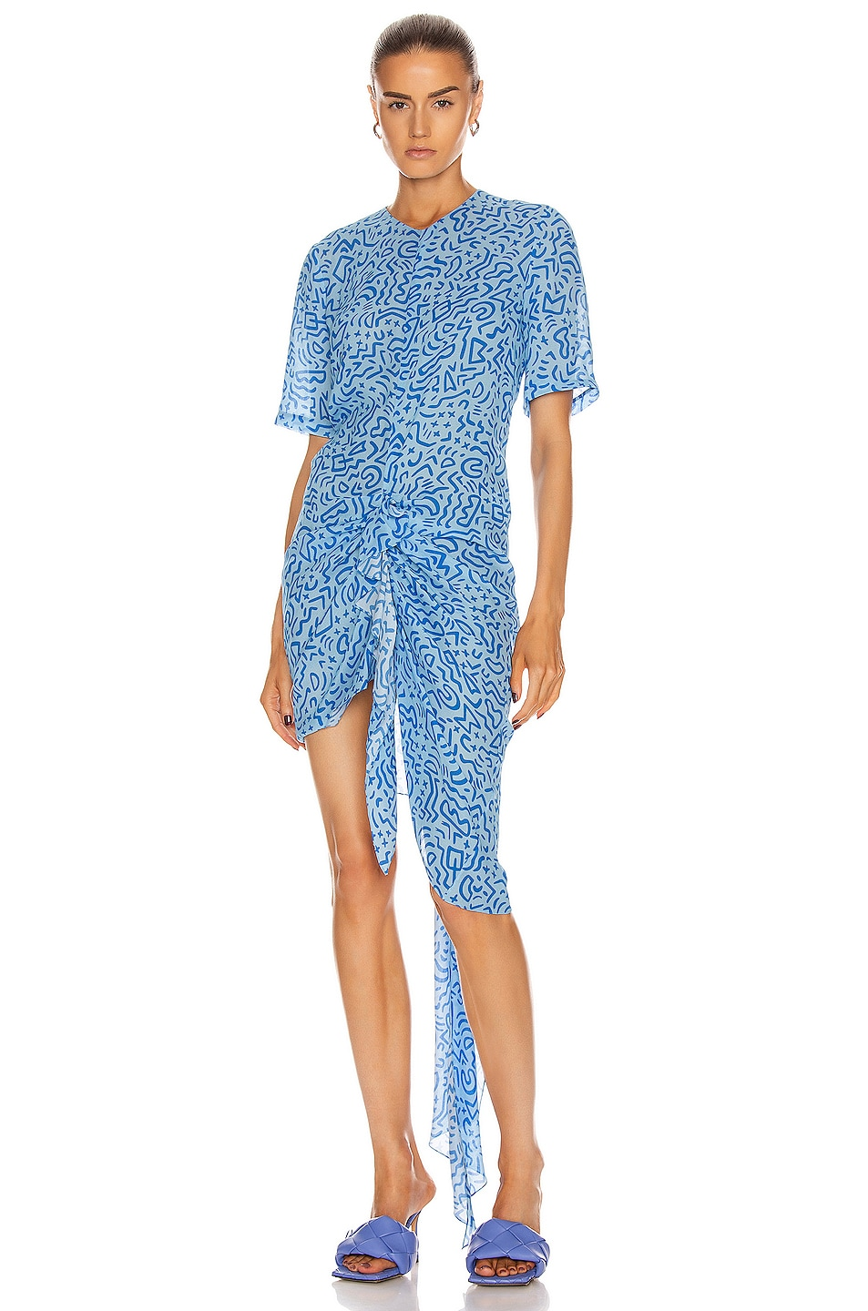 Image 1 of CARMEN MARCH Ruched Asymmetrical Dress in Blue
