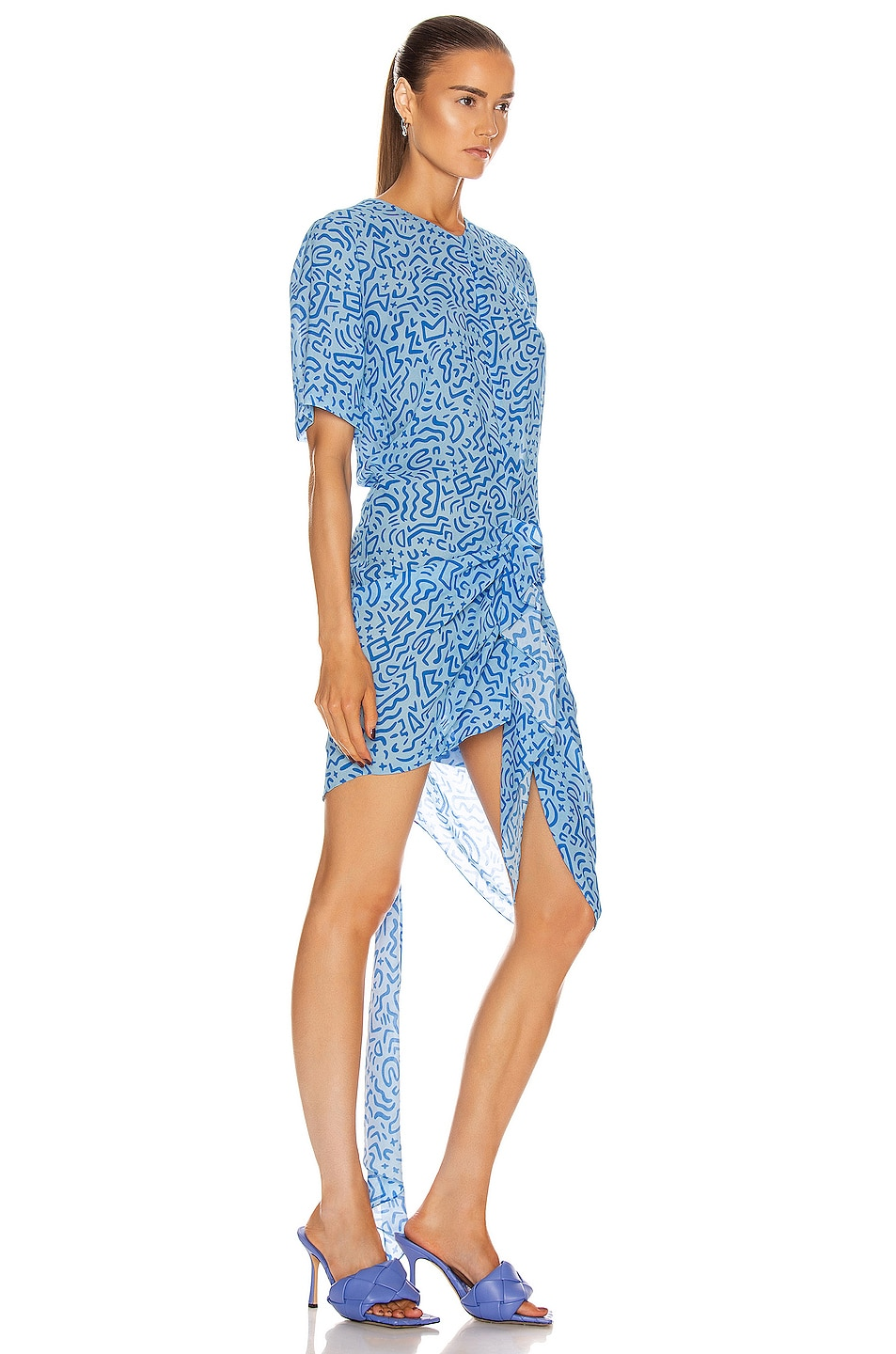 Image 2 of CARMEN MARCH Ruched Asymmetrical Dress in Blue