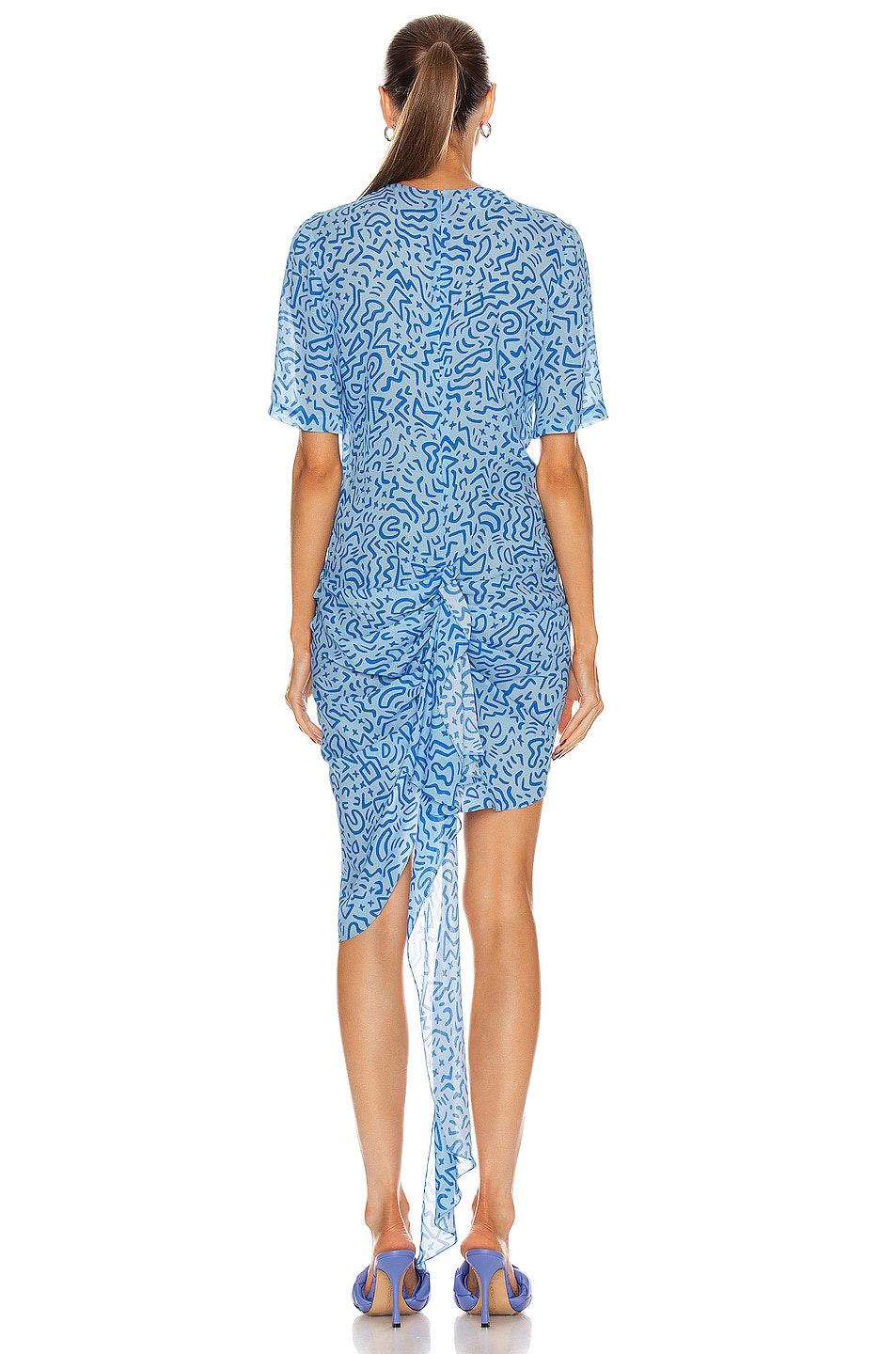 Image 3 of CARMEN MARCH Ruched Asymmetrical Dress in Blue