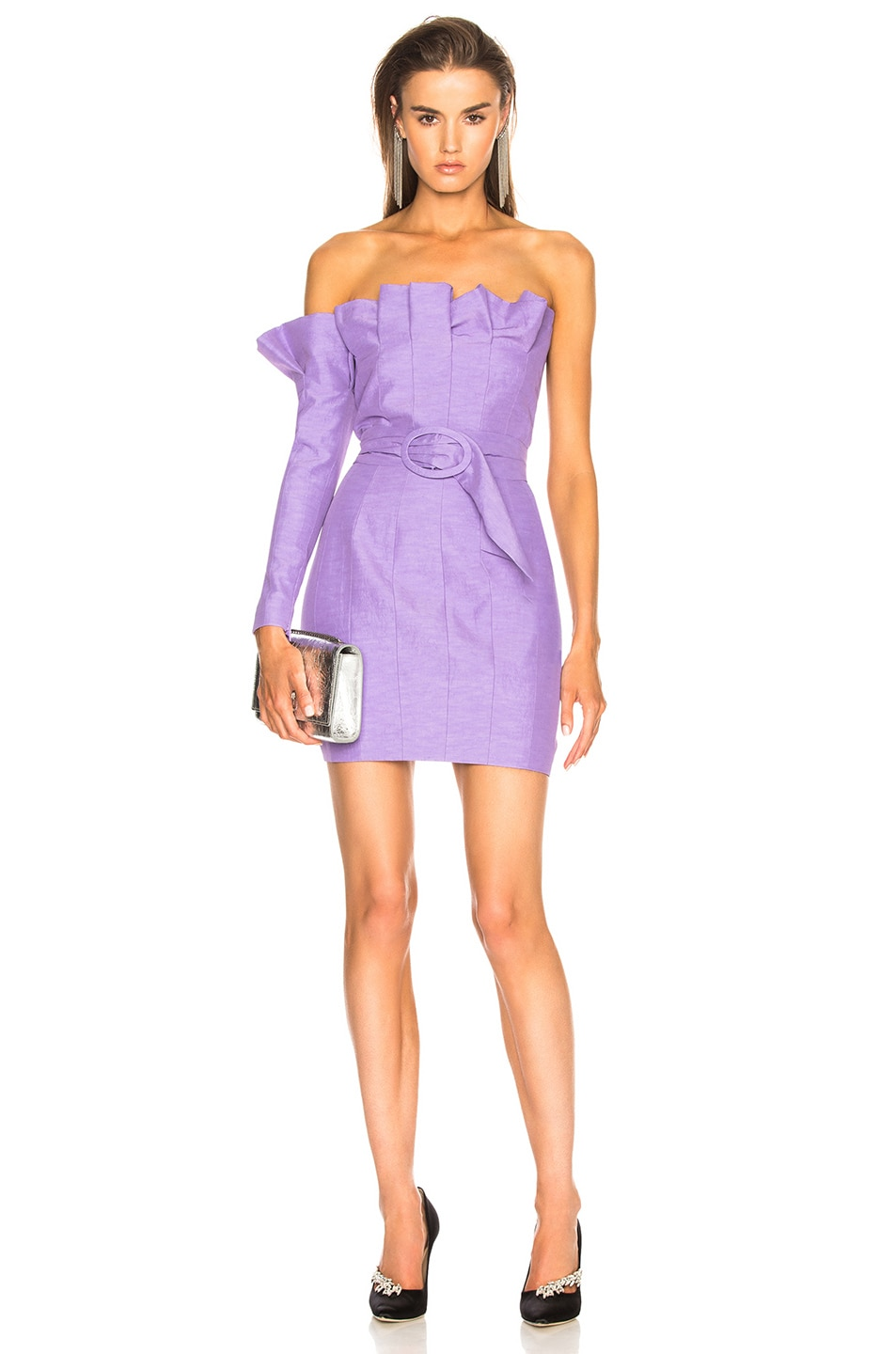 Carmen March CARMEN MARCH BELTED ONE SLEEVE STRAPLESS DRESS IN PURPLE