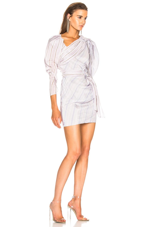Image 2 of CARMEN MARCH Draped Mini Dress in Lilac & Grey