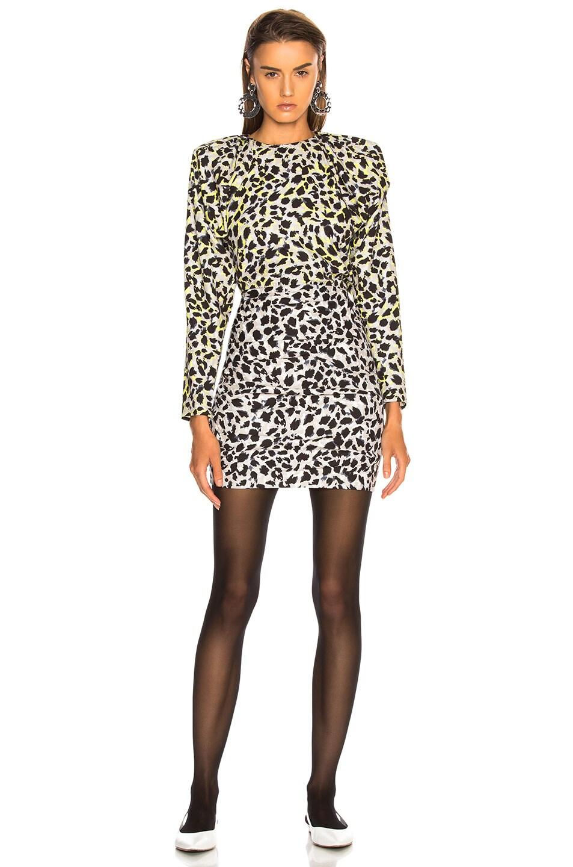Image 2 of CARMEN MARCH Leopard Dress in Grey & Green