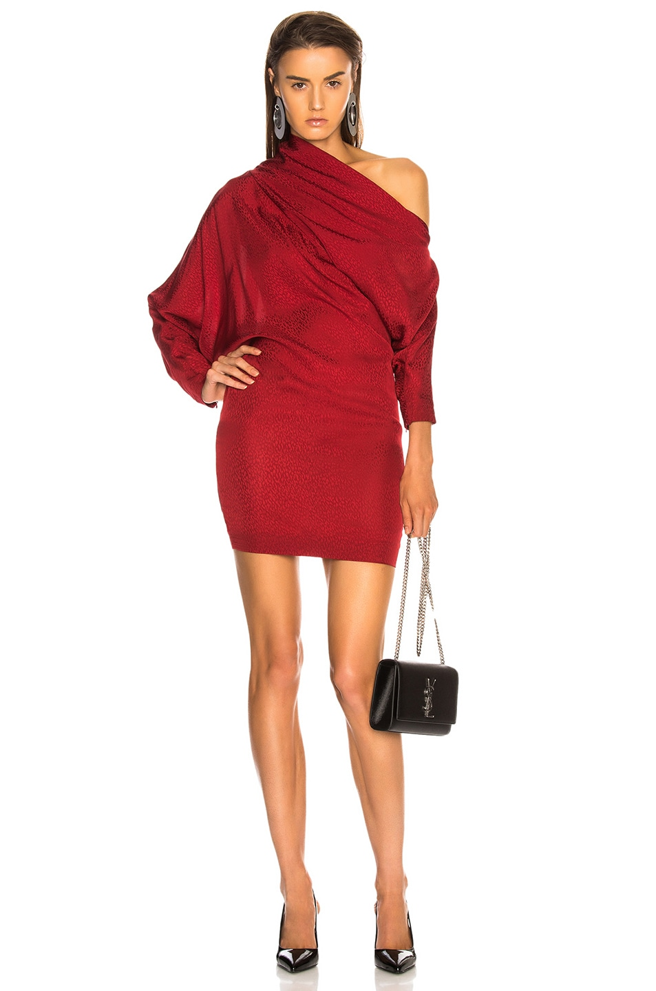 Image 1 of CARMEN MARCH Asymmetrical Shoulder Mini Dress in Lipstick