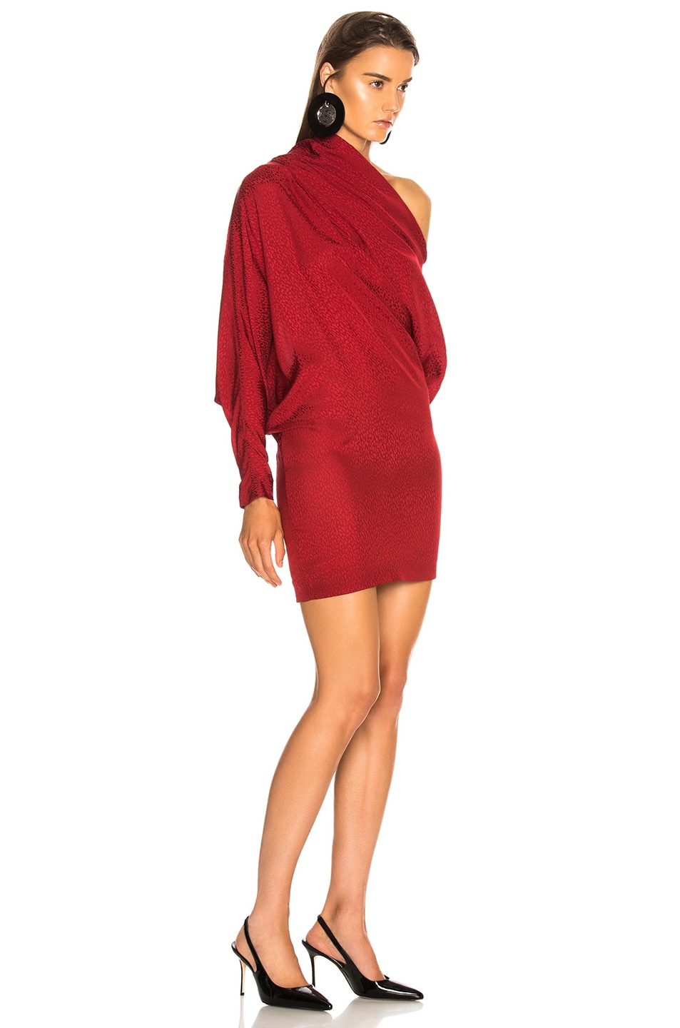 Image 2 of CARMEN MARCH Asymmetrical Shoulder Mini Dress in Lipstick