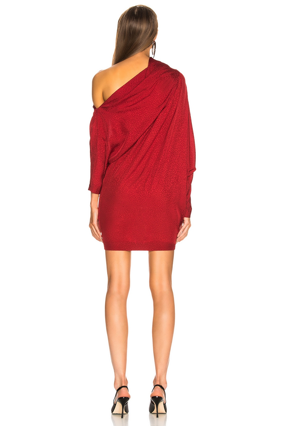 Image 4 of CARMEN MARCH Asymmetrical Shoulder Mini Dress in Lipstick
