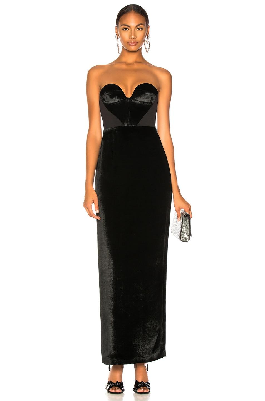 Image 1 of CARMEN MARCH Velvet Strapless Gown in Black
