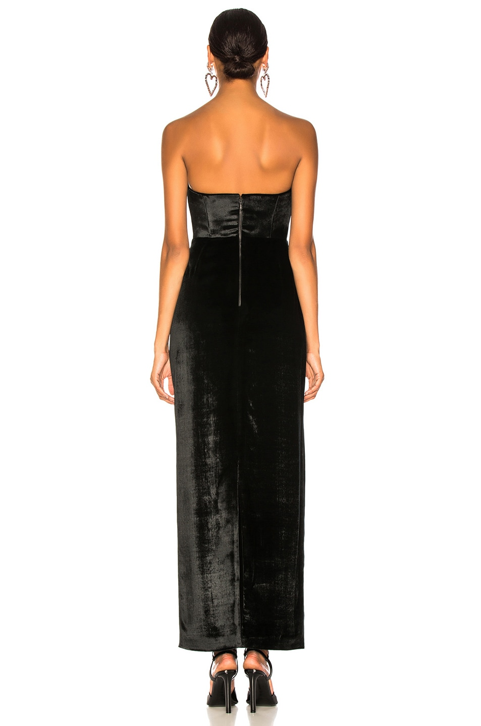 Image 3 of CARMEN MARCH Velvet Strapless Gown in Black