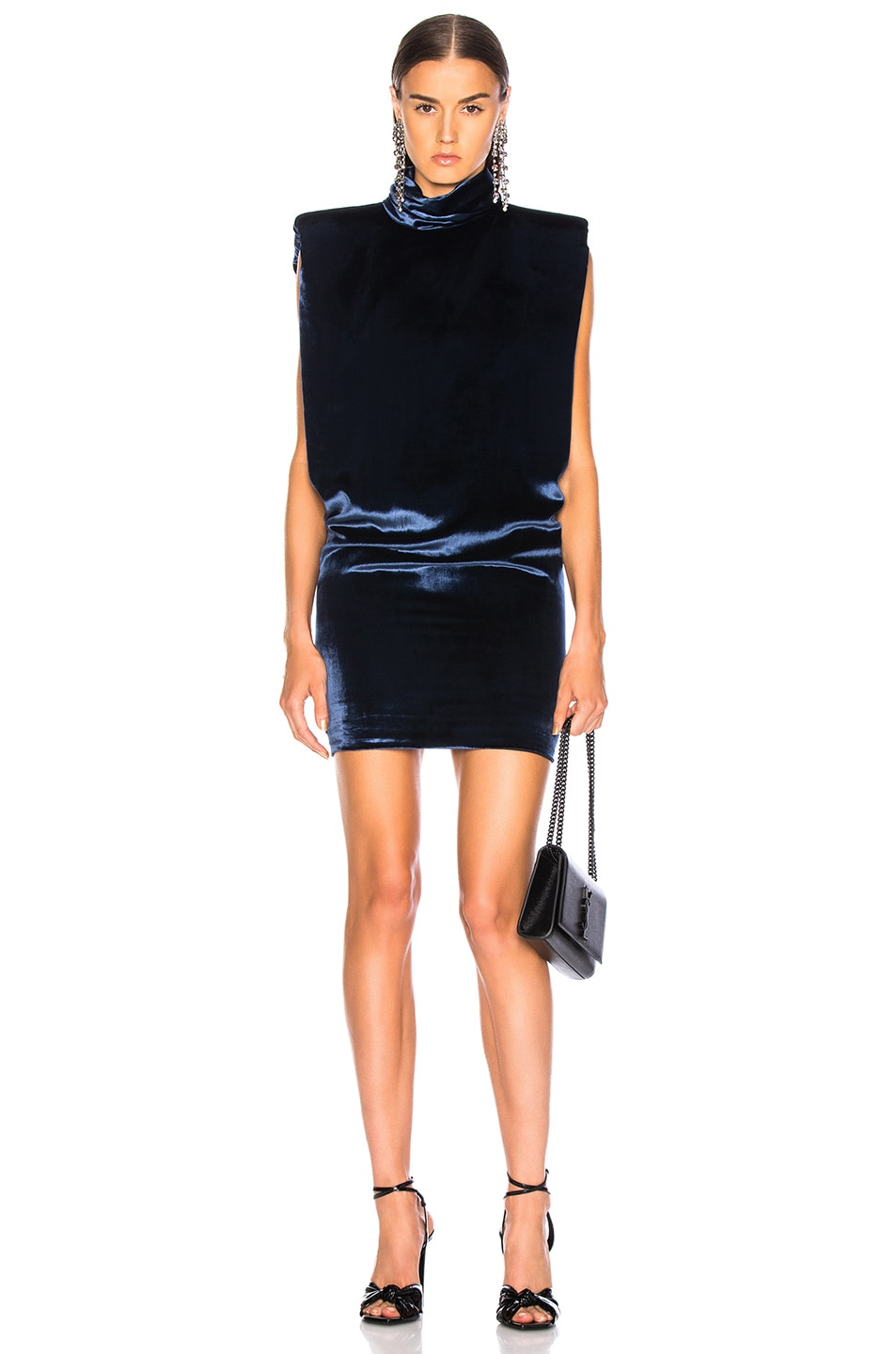 CARMEN MARCH Velvet Sleeveless Mini Dress Ink on sale