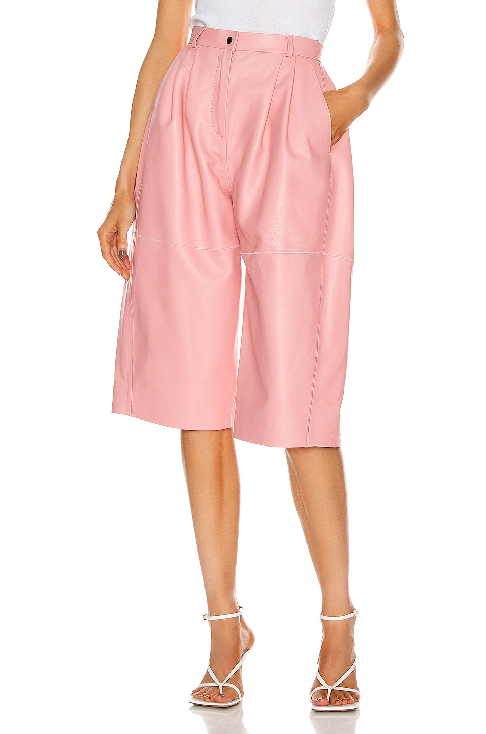 Image 1 of CARMEN MARCH Leather Trouser Short in Light Pink