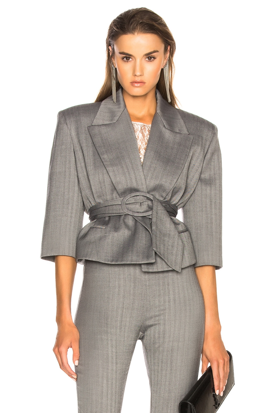 Image 1 of CARMEN MARCH Belted Cropped Blazer in Grey