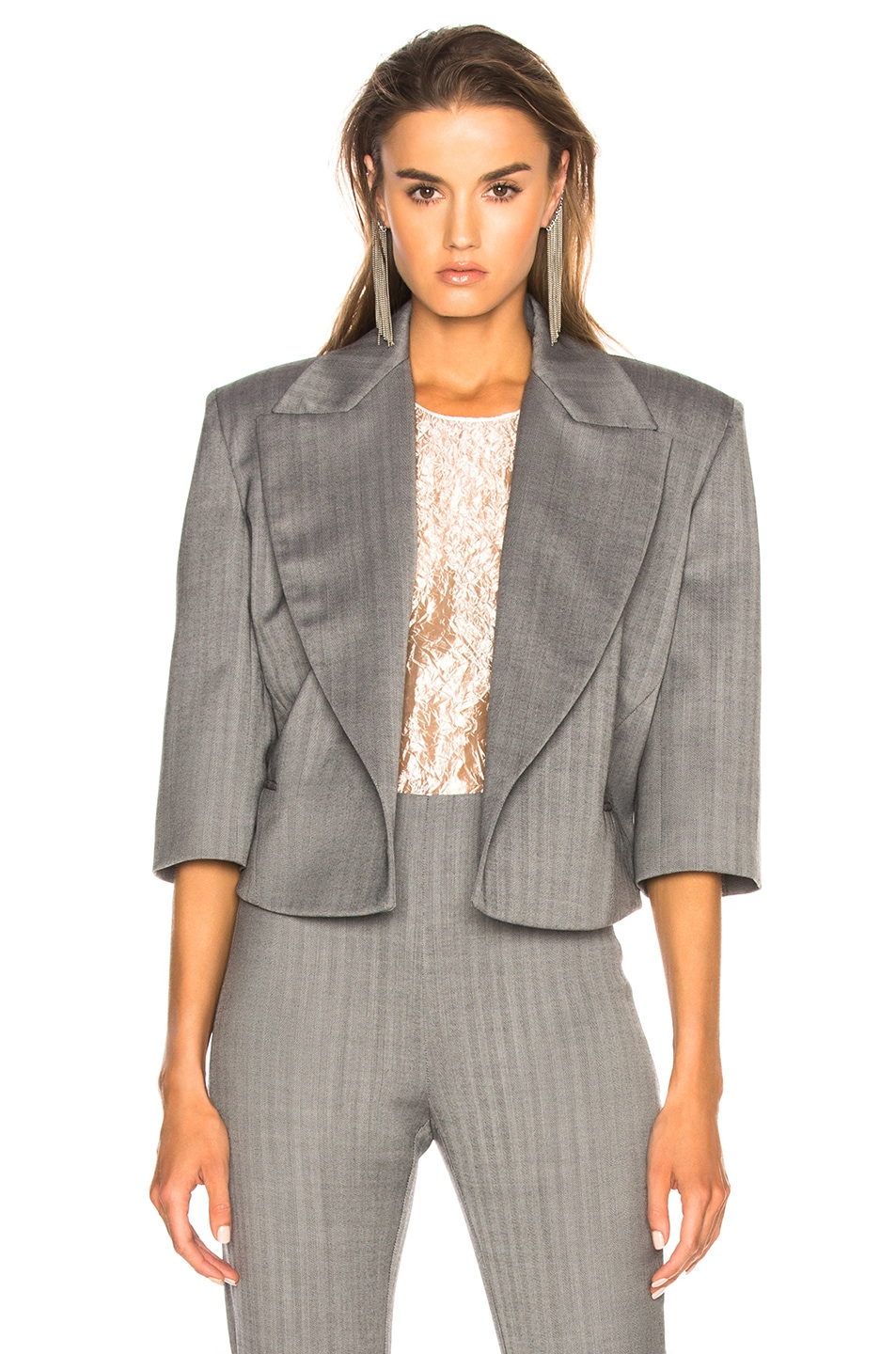 Image 2 of CARMEN MARCH Belted Cropped Blazer in Grey