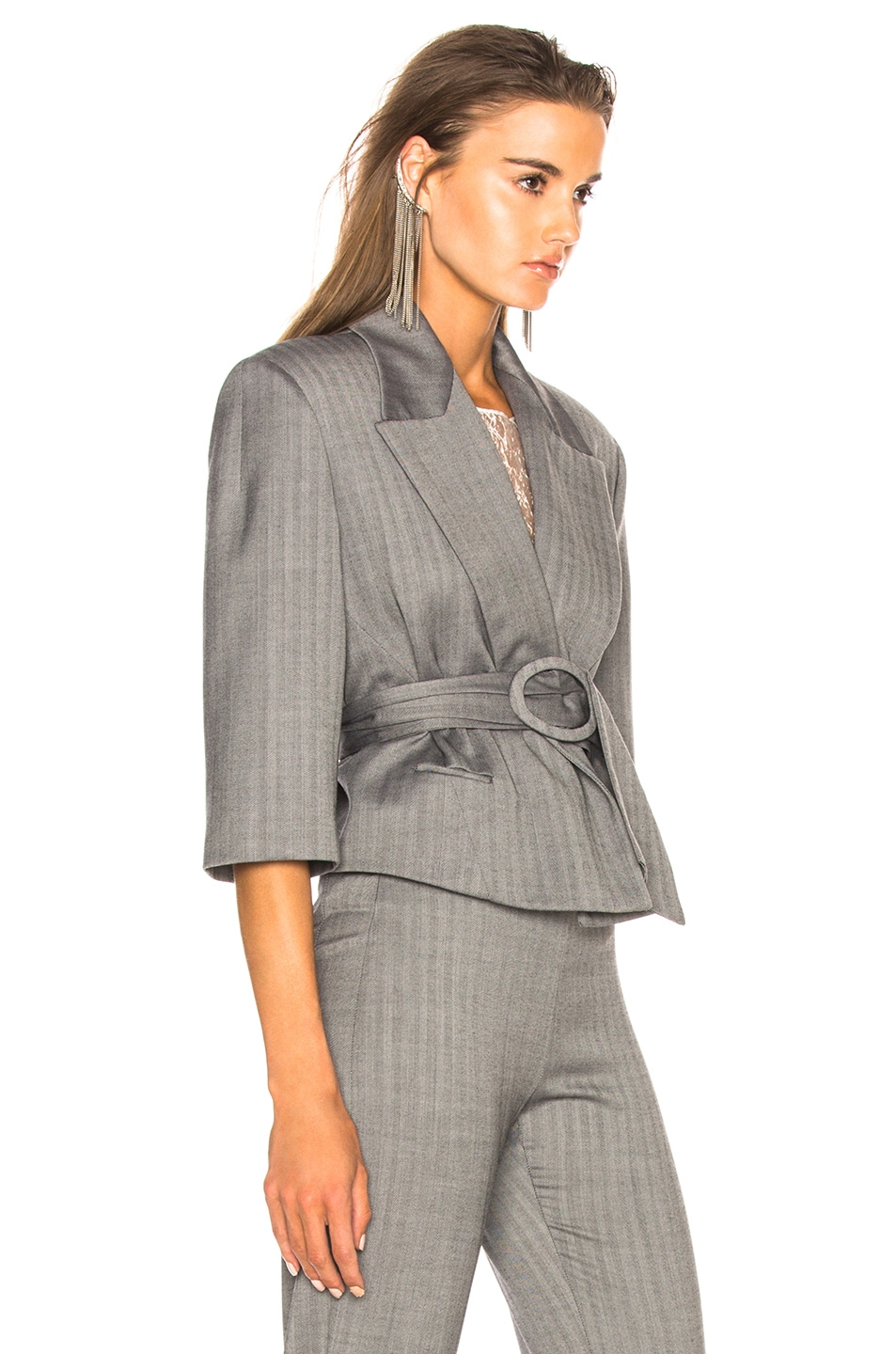 Image 3 of CARMEN MARCH Belted Cropped Blazer in Grey
