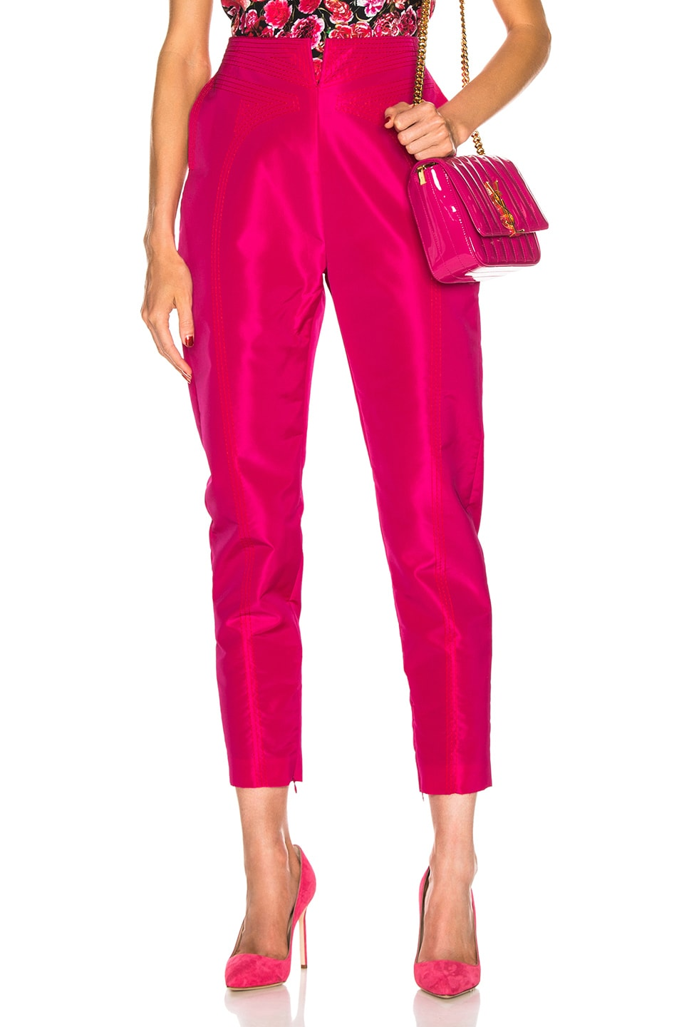 Image 1 of CARMEN MARCH High Waisted Pant in Fuchsia