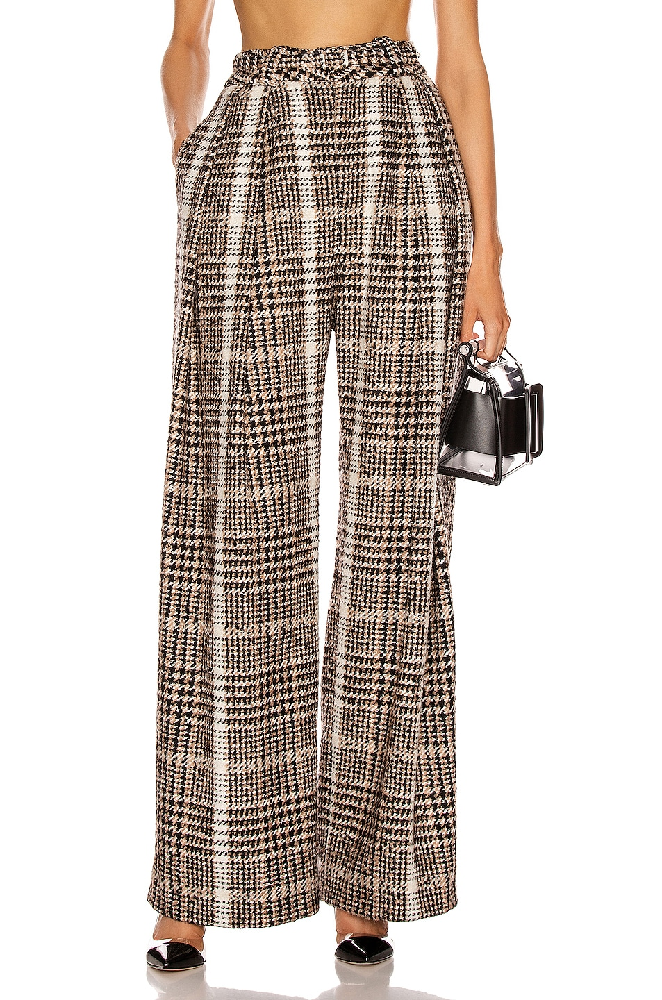 Image 1 of CARMEN MARCH Wide Leg Pant in Black & Caramel