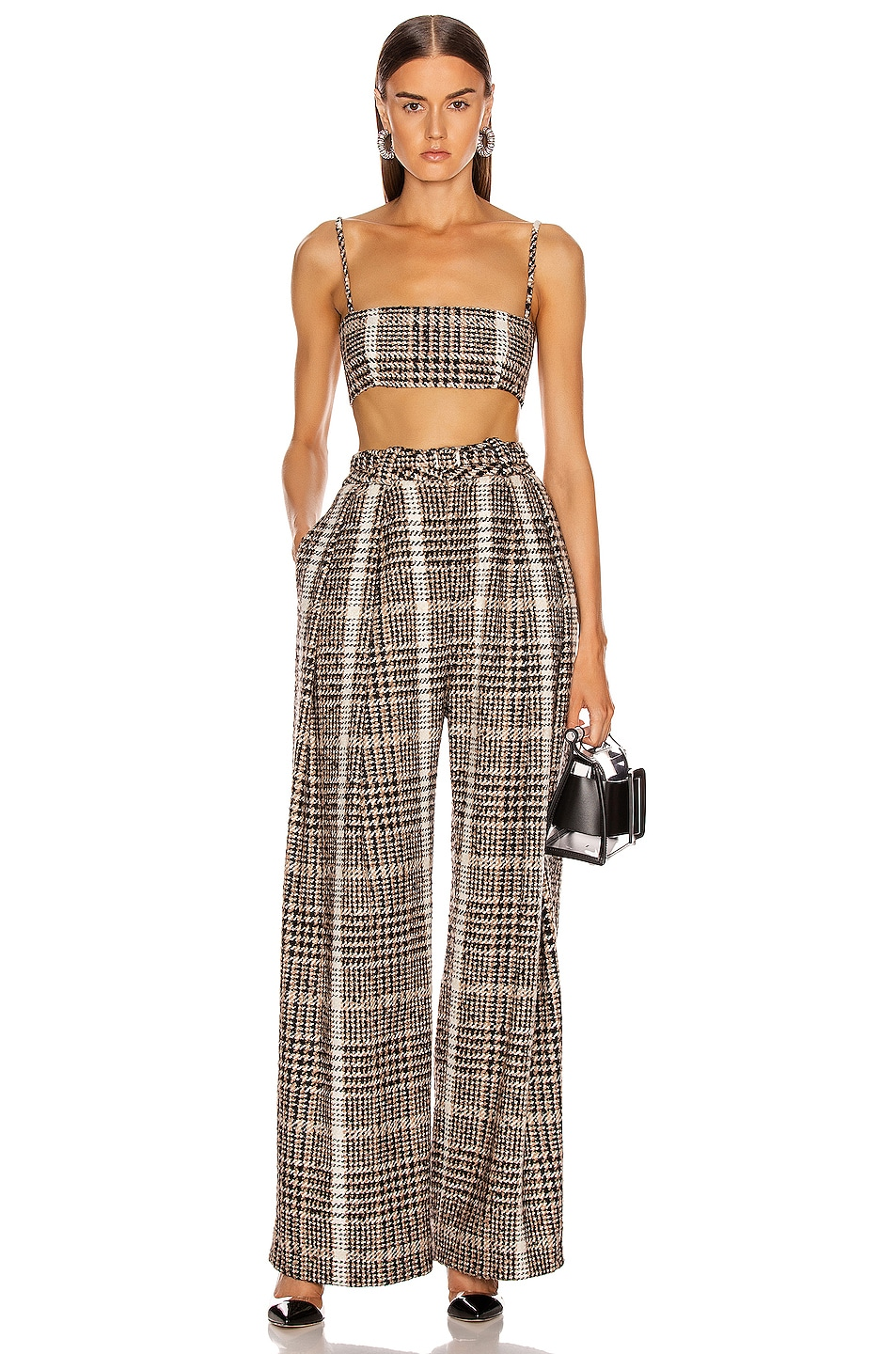Image 4 of CARMEN MARCH Wide Leg Pant in Black & Caramel