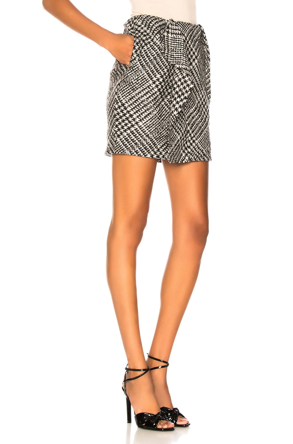 Image 2 of CARMEN MARCH Checked Mini Skirt in Grey & White