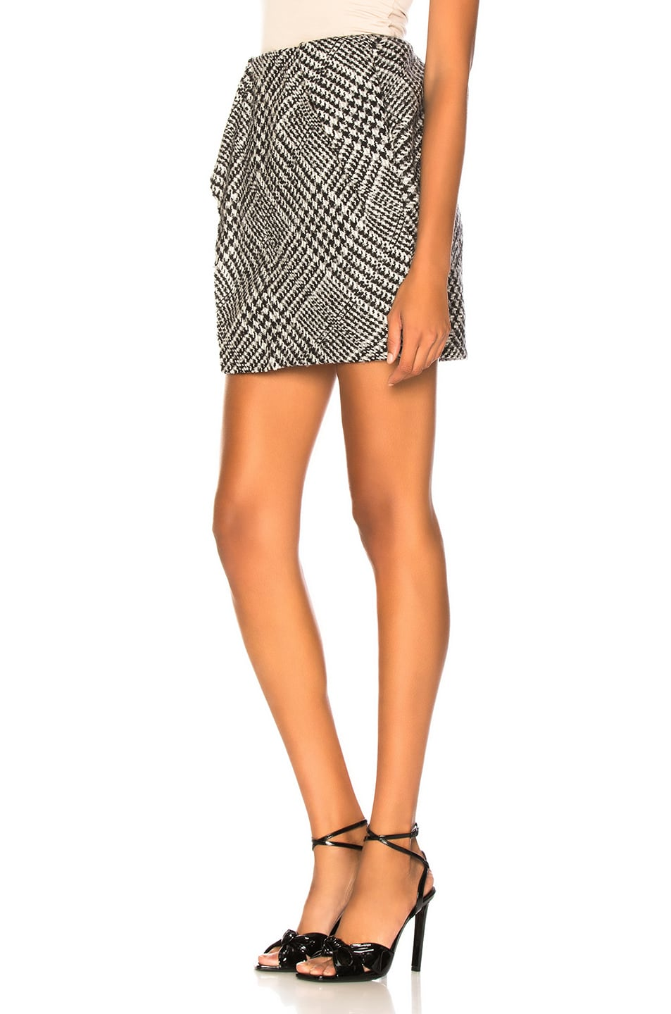 Image 3 of CARMEN MARCH Checked Mini Skirt in Grey & White