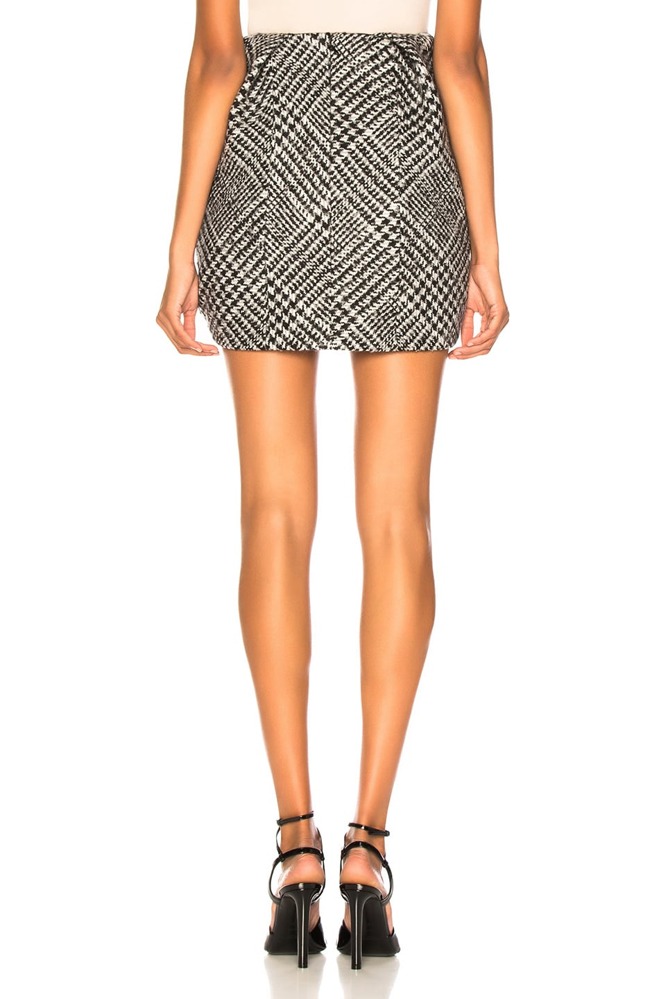 Image 4 of CARMEN MARCH Checked Mini Skirt in Grey & White