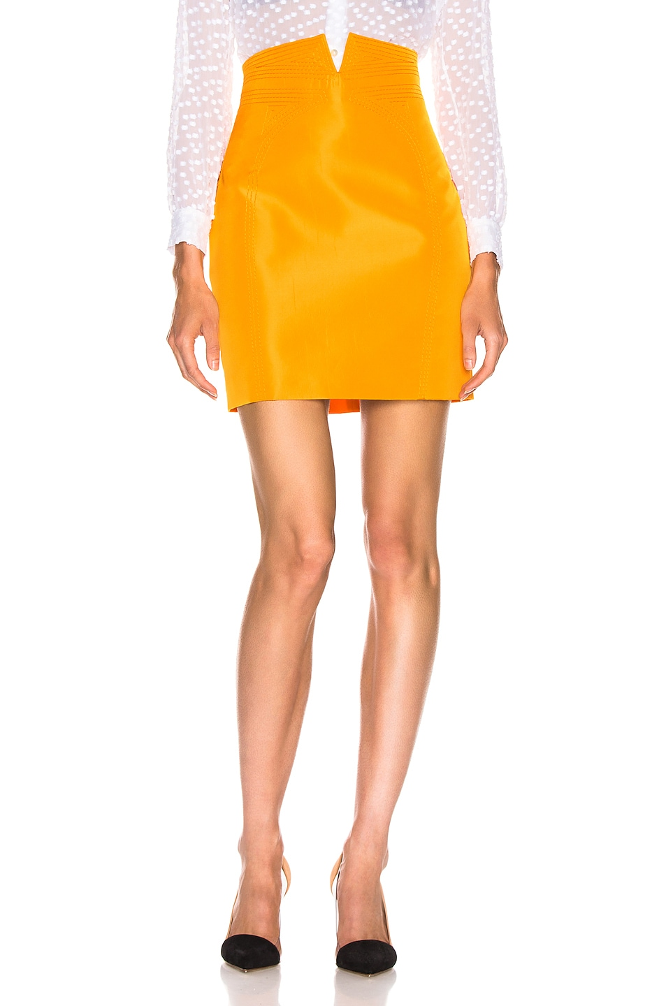 Image 1 of CARMEN MARCH High Waisted Mini Skirt in Yellow