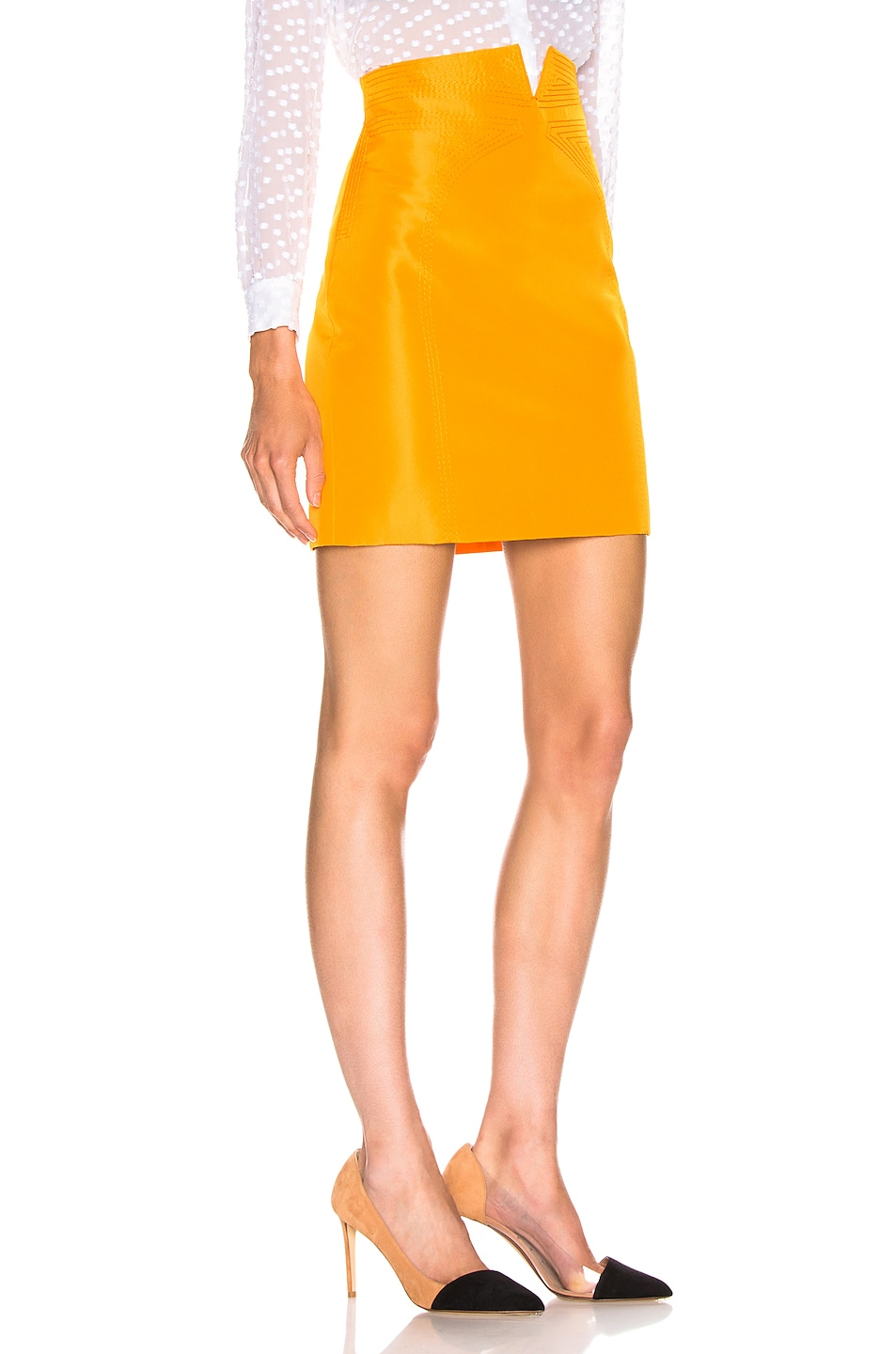 Image 2 of CARMEN MARCH High Waisted Mini Skirt in Yellow