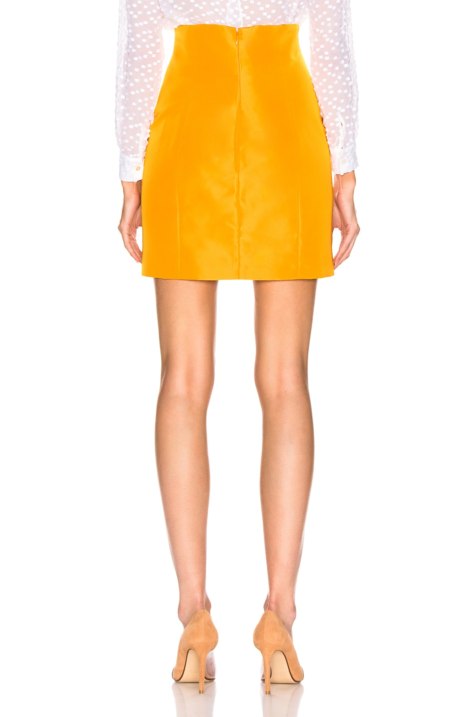Image 3 of CARMEN MARCH High Waisted Mini Skirt in Yellow