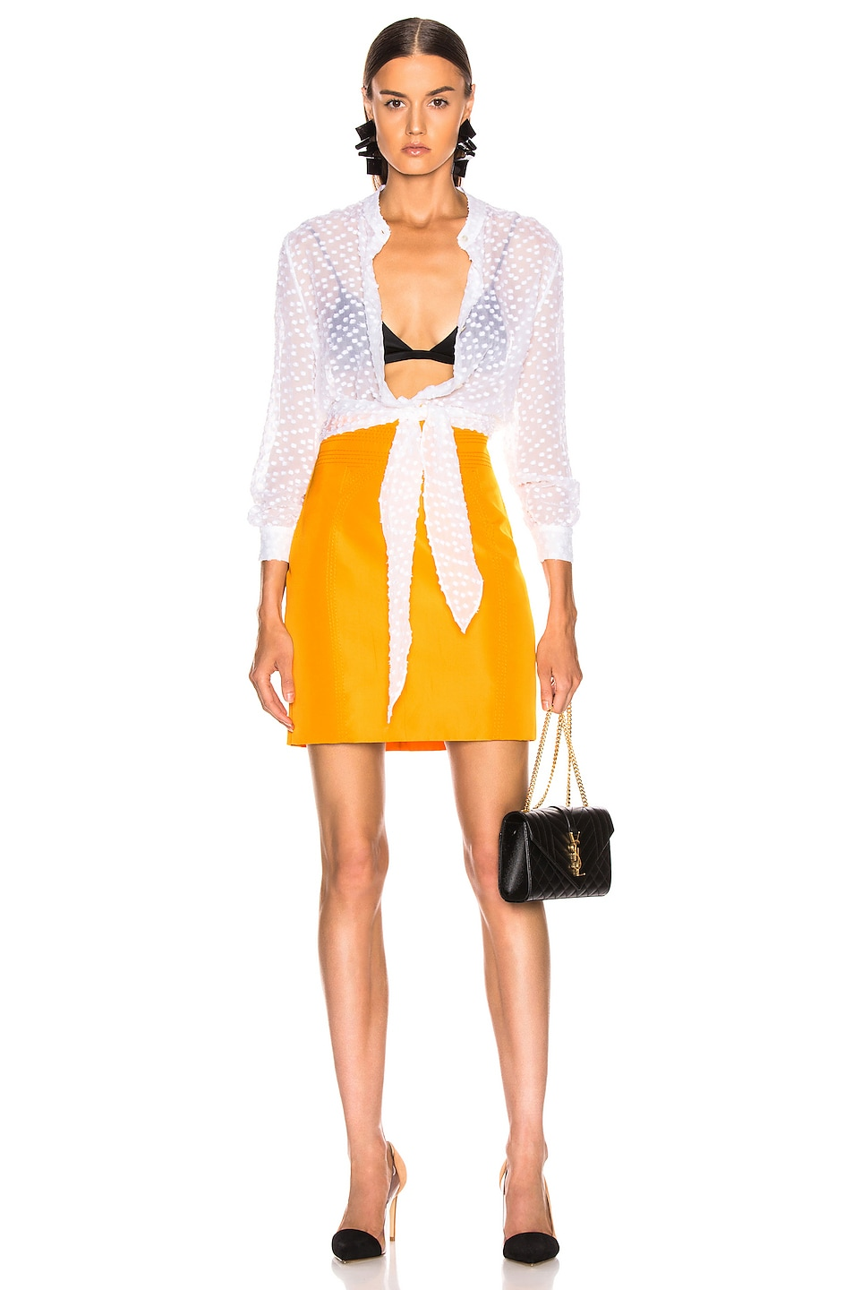 Image 4 of CARMEN MARCH High Waisted Mini Skirt in Yellow