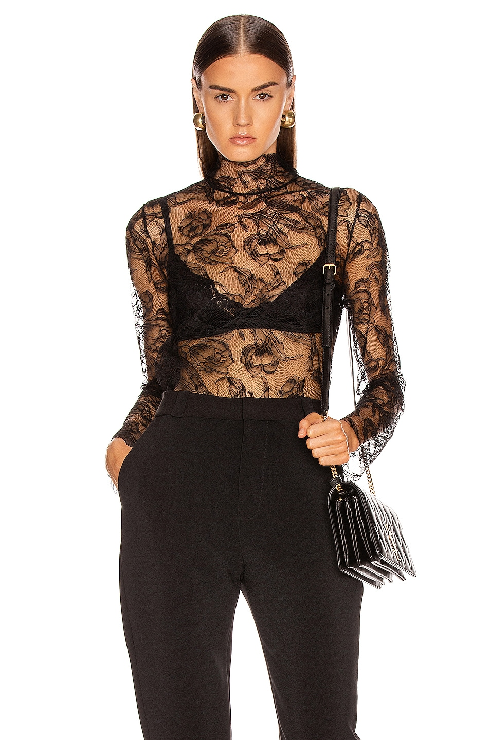Image 1 of CARMEN MARCH Chantilly Lace Blouse in Black