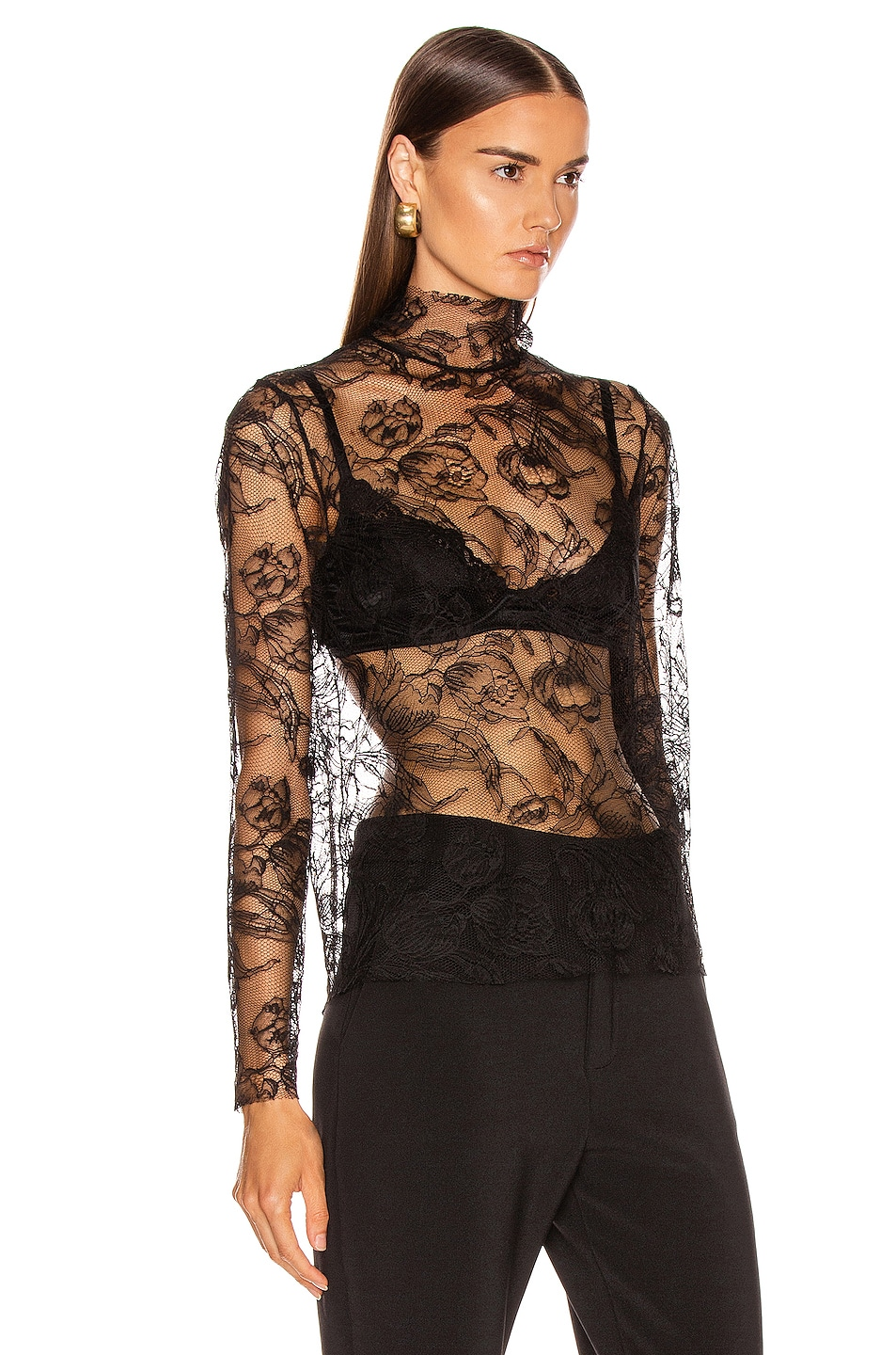 Image 2 of CARMEN MARCH Chantilly Lace Blouse in Black