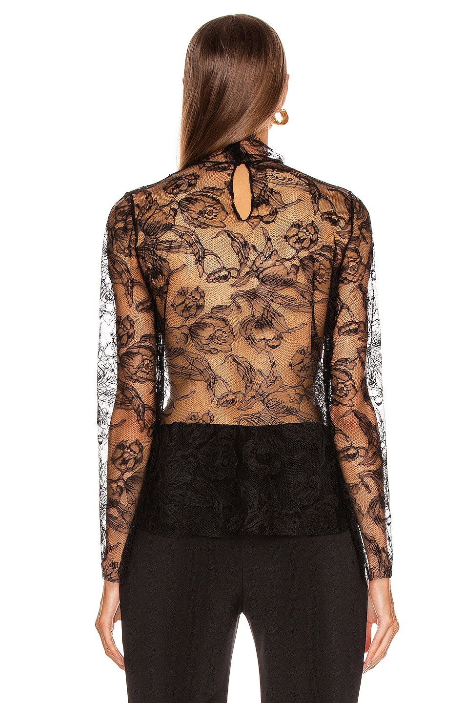 Image 3 of CARMEN MARCH Chantilly Lace Blouse in Black