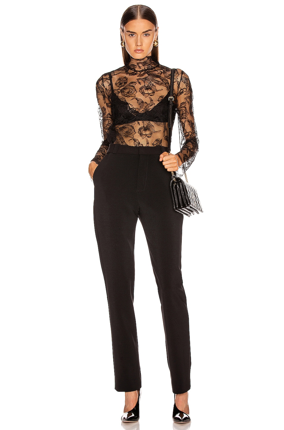 Image 4 of CARMEN MARCH Chantilly Lace Blouse in Black