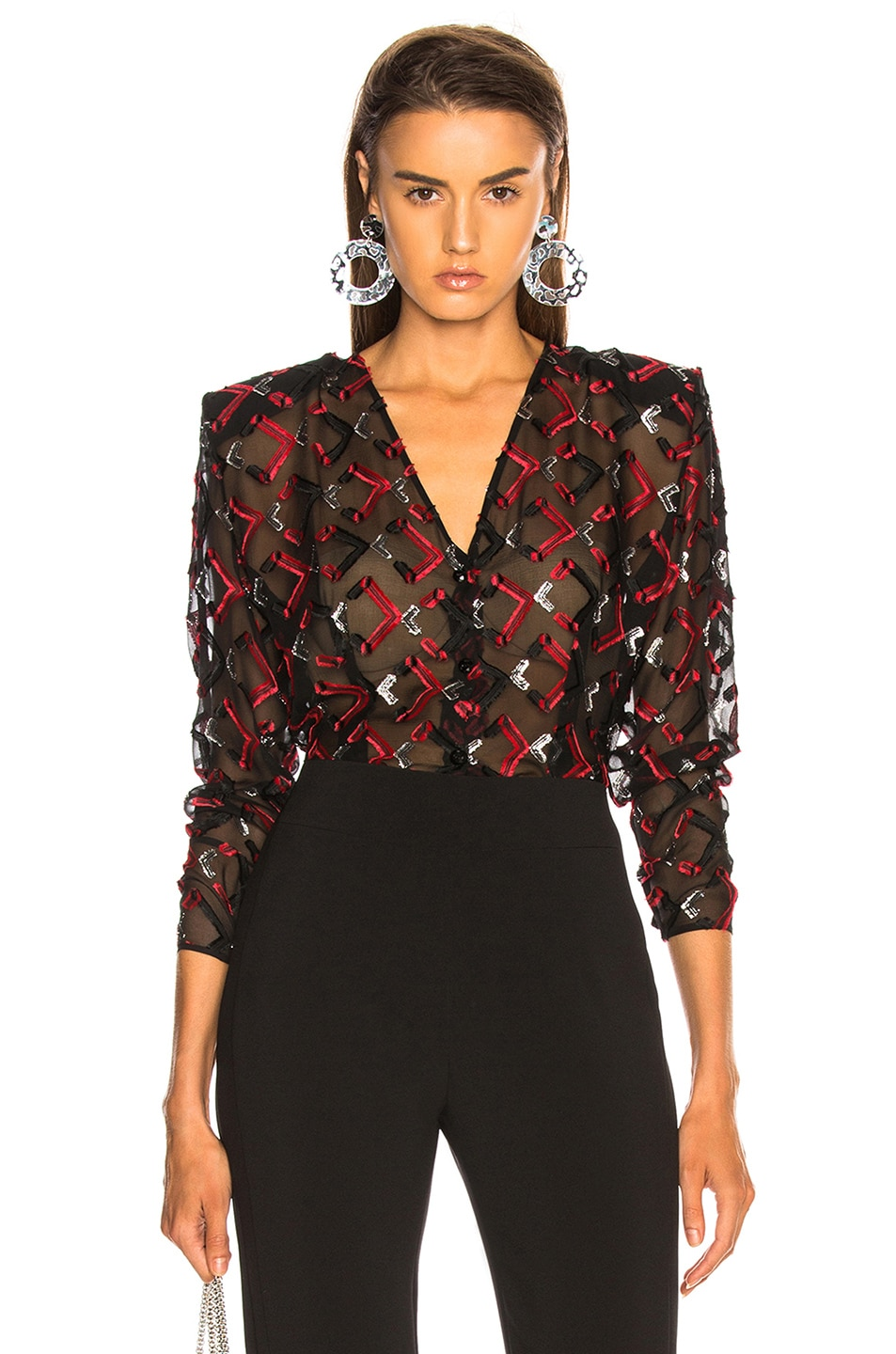 Image 1 of CARMEN MARCH Blouse in Black & Red