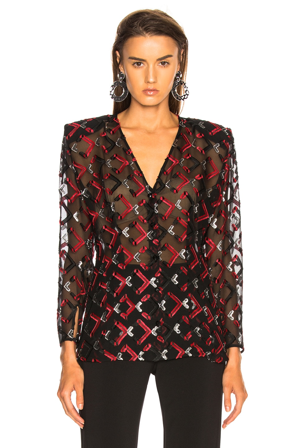 Image 2 of CARMEN MARCH Blouse in Black & Red