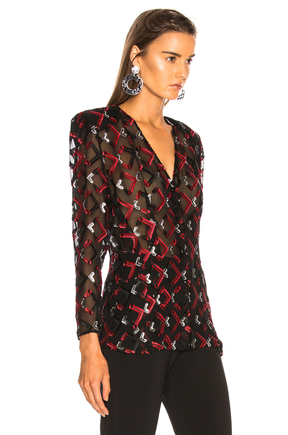 Image 3 of CARMEN MARCH Blouse in Black & Red