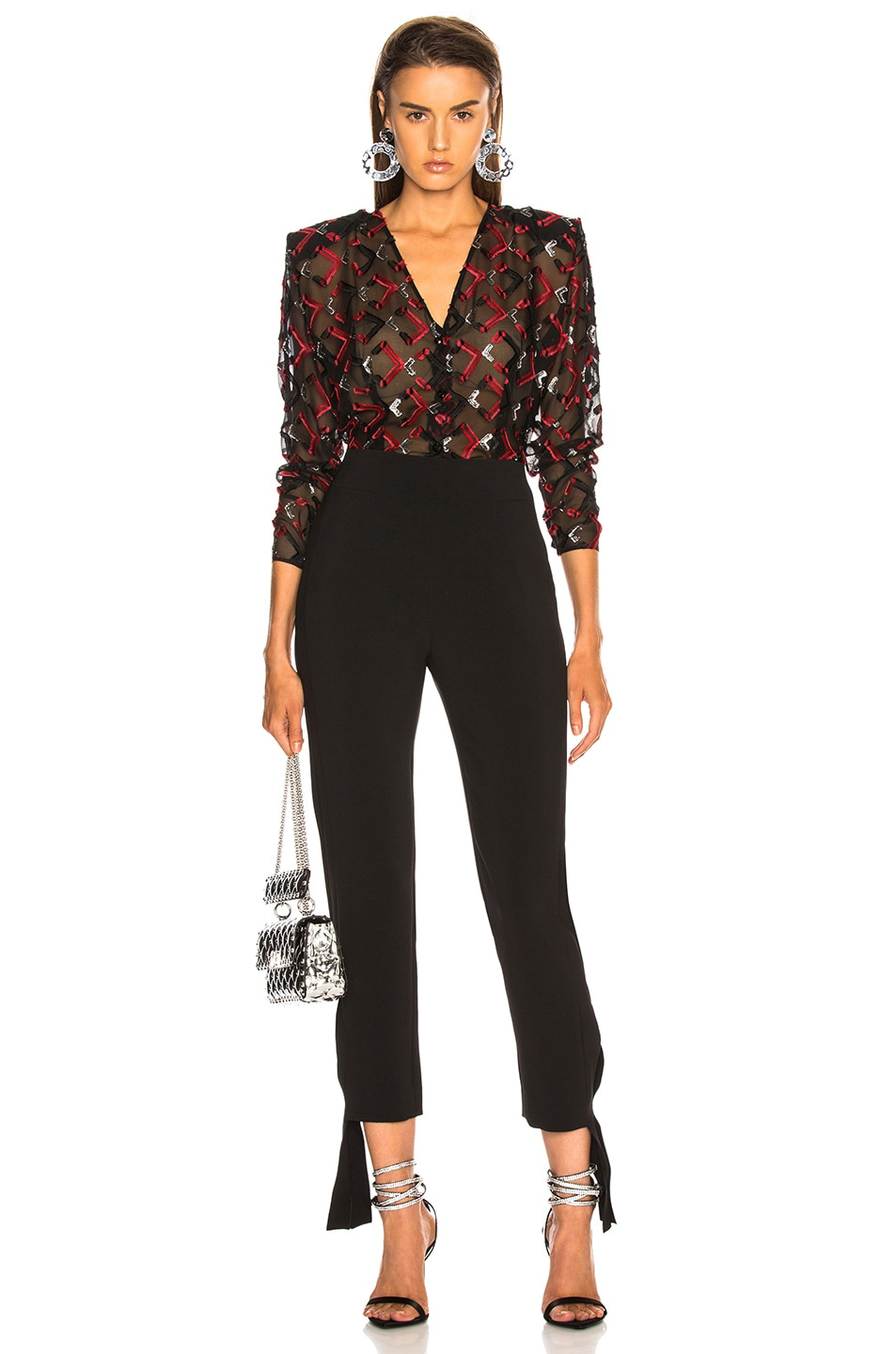 Image 5 of CARMEN MARCH Blouse in Black & Red