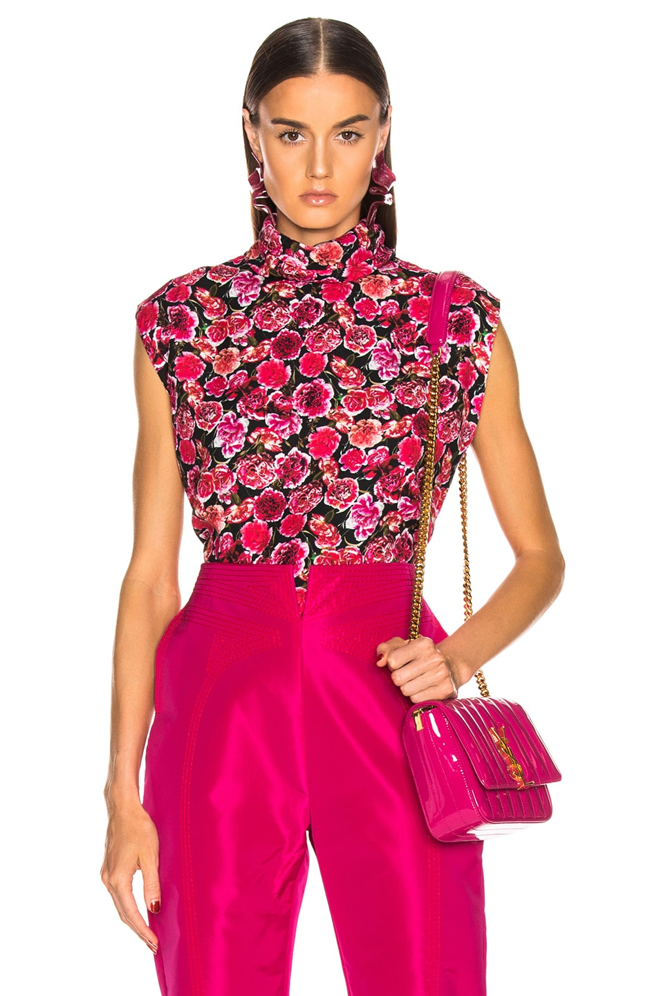 Image 1 of CARMEN MARCH Carnation Sleeveless Top in Pink & Black