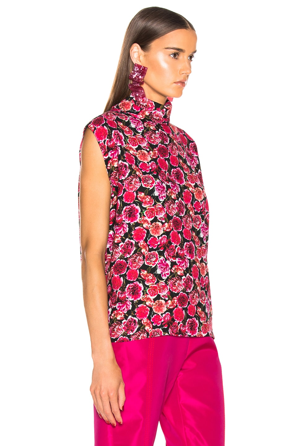 Image 2 of CARMEN MARCH Carnation Sleeveless Top in Pink & Black