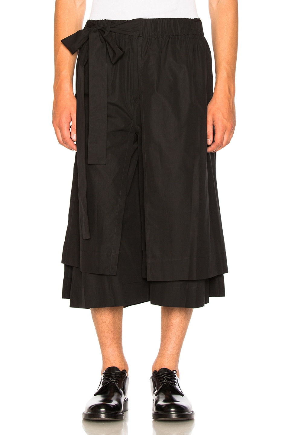 Image 1 of Craig Green Layered Cotton Track Shorts in Black