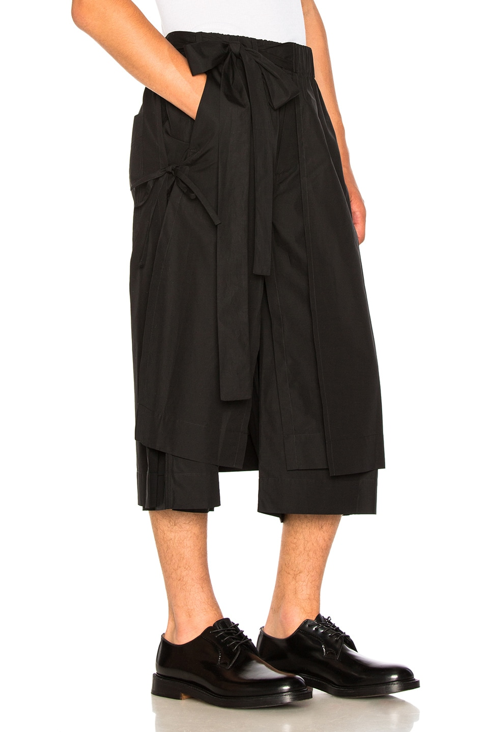 Image 2 of Craig Green Layered Cotton Track Shorts in Black