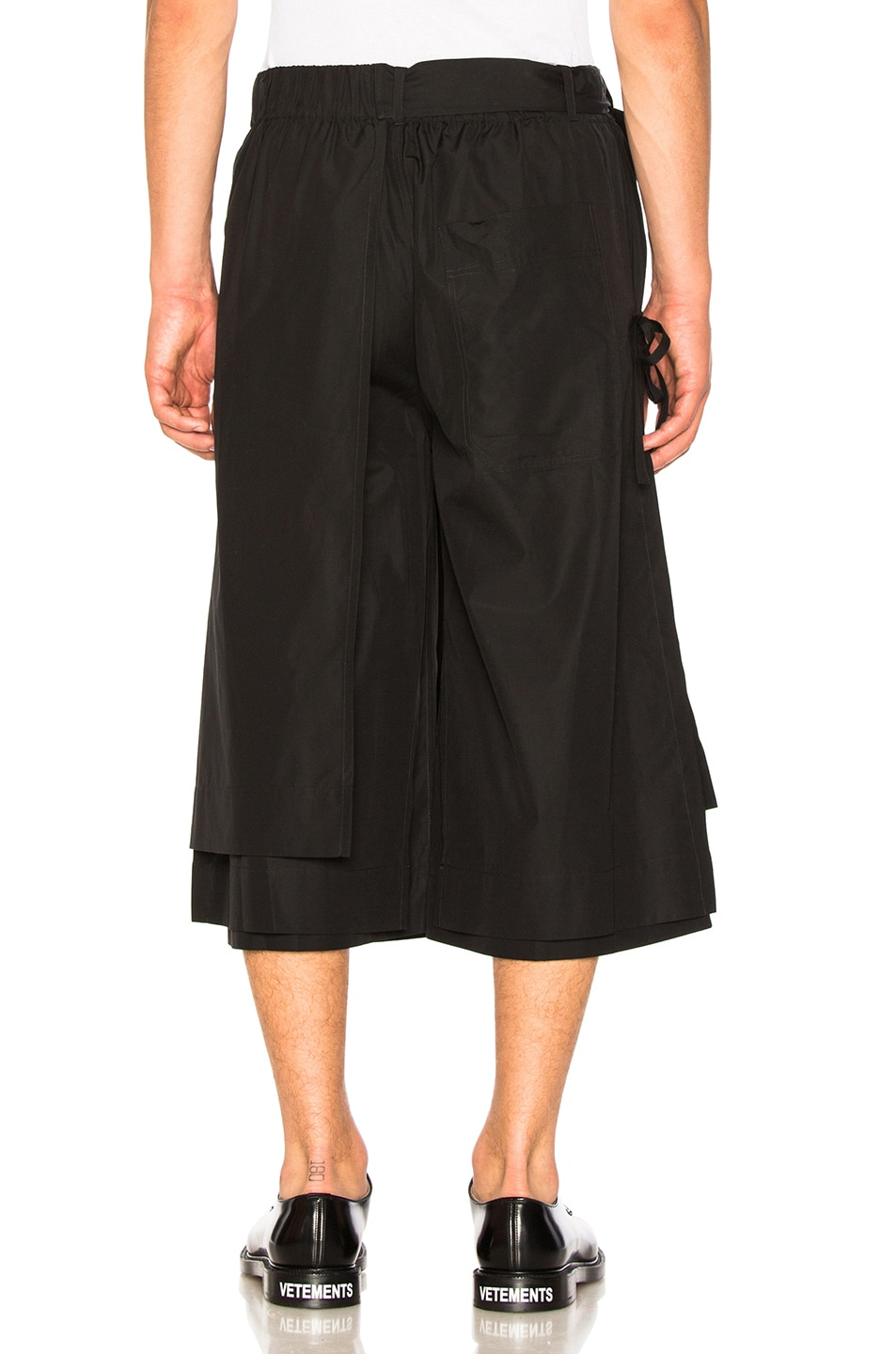 Image 3 of Craig Green Layered Cotton Track Shorts in Black