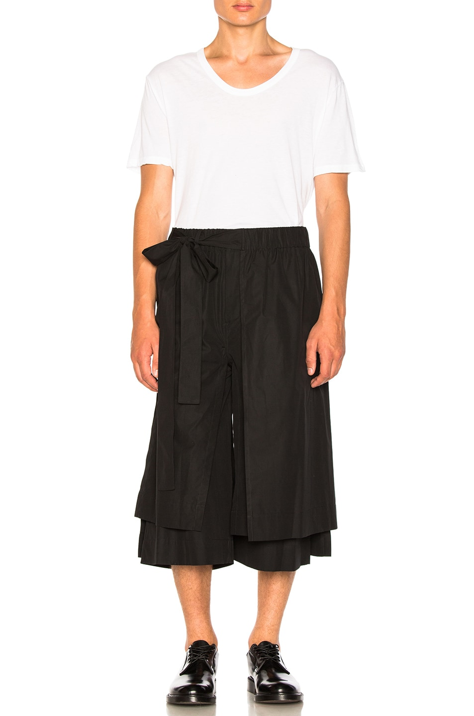 Image 4 of Craig Green Layered Cotton Track Shorts in Black