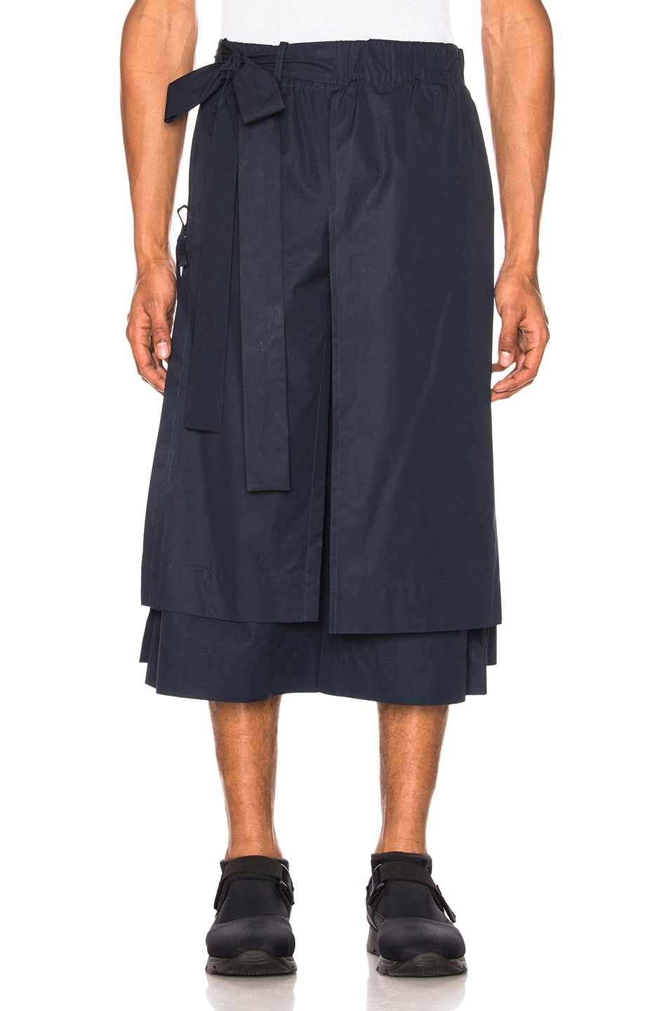 Image 1 of Craig Green Layered Cotton Track Shorts in Navy