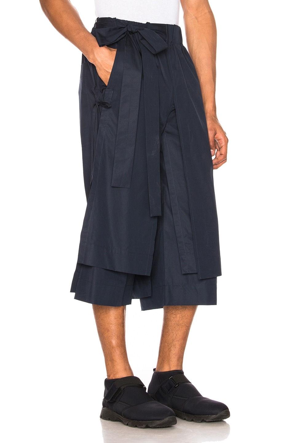 Image 2 of Craig Green Layered Cotton Track Shorts in Navy