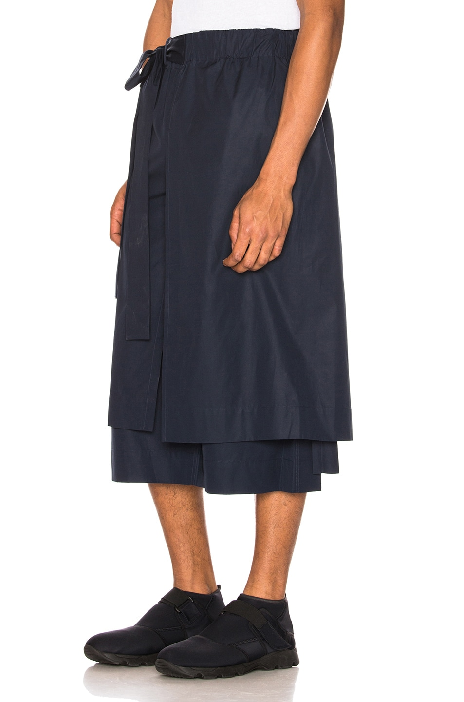 Image 3 of Craig Green Layered Cotton Track Shorts in Navy