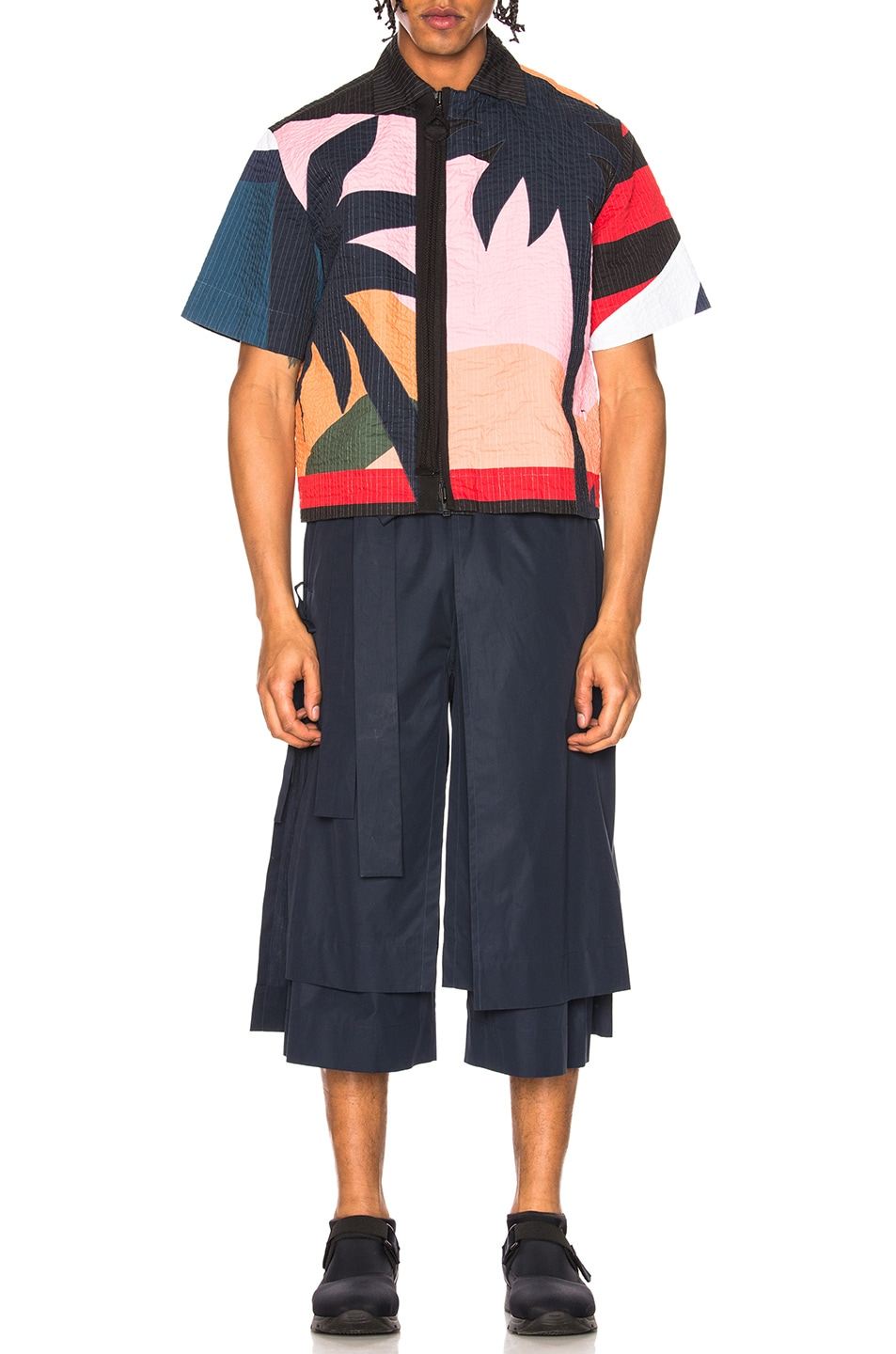 Image 5 of Craig Green Layered Cotton Track Shorts in Navy